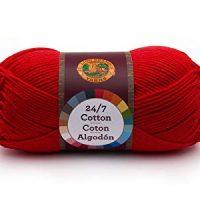 Lion Brand Yarn 761-113 24-7 Cotton Yarn, Red