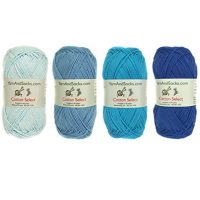Cotton Select Sport Weight Yarn Color Palette Pack - 100% Fine Cotton - Shades of Blue - 4 Skeins