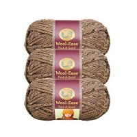(3 Pack) Lion Brand Yarn 640-124J Wool-Ease Thick and Quick Yarn, 97 Meters, Barley