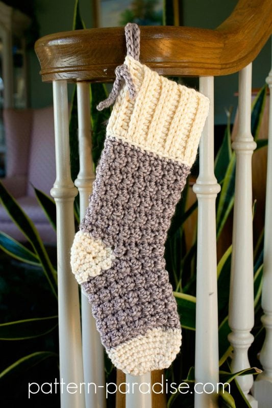 Crochet Christmas stocking in white and grey yarn