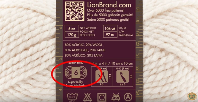 yarn label with yarn weight information