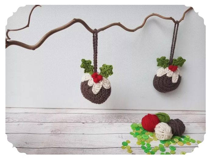 crochet Christmas pudding ornament