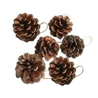 Pausseo 6Pcs/Set Small Pine Cone Pendant Set Merry Christmas Ornament Natural Baubles Party Xmas Tree Decorations Hanging Pendant Party Decoration Party Gift Festival Art Home Decor Kit (C)