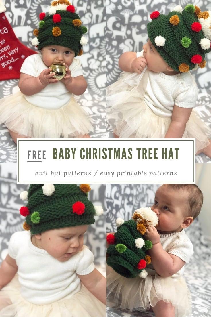 Baby Christmas tree hat free knitting pattern