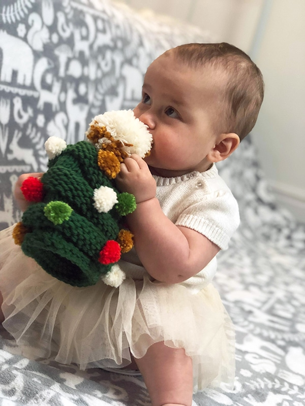 Baby Christmas tree hat with pom poms