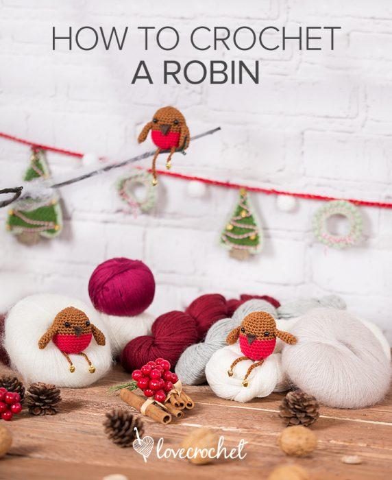 crochet amigurumi robin ornament