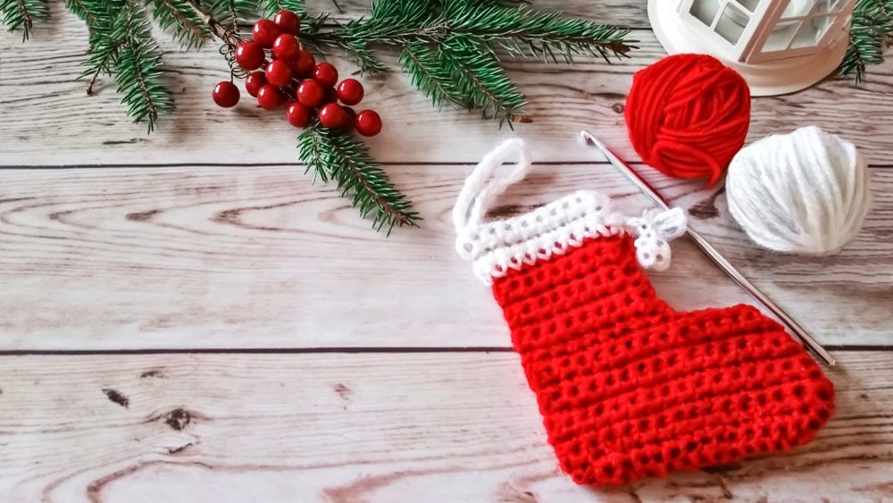 Crochet Christmas stocking in red and white yarn