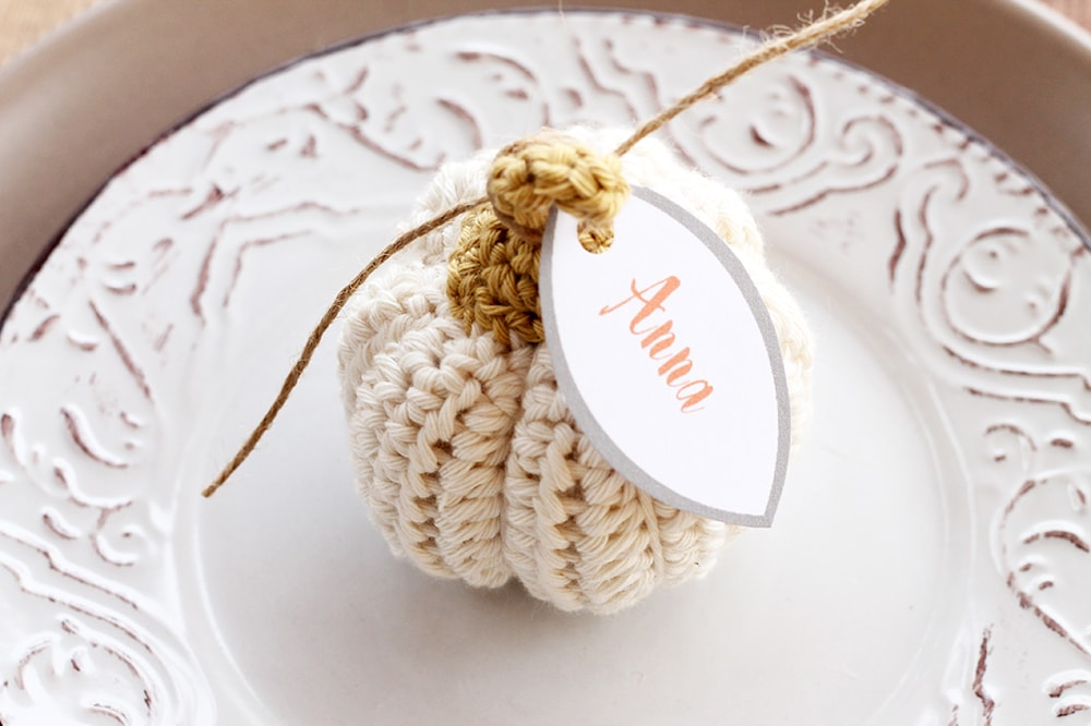 Crochet pumpkin place card