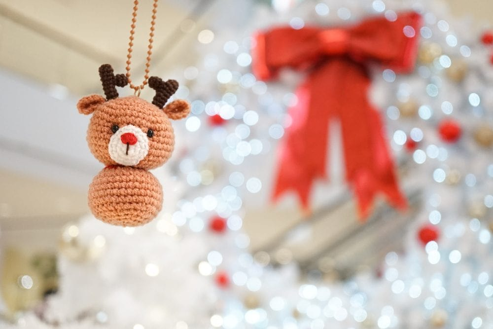 Crochet amigurumi reindeer Christmas tree ornament
