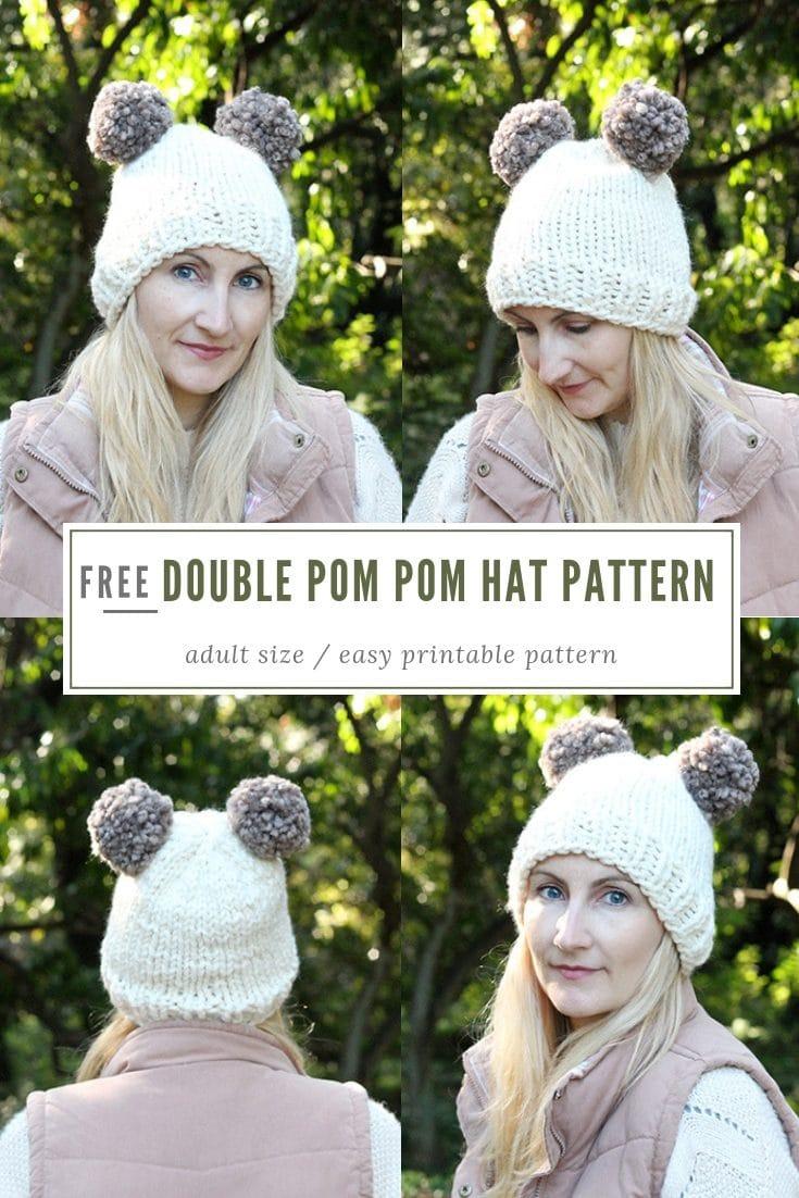 Double Pom Beanie Hat Pattern