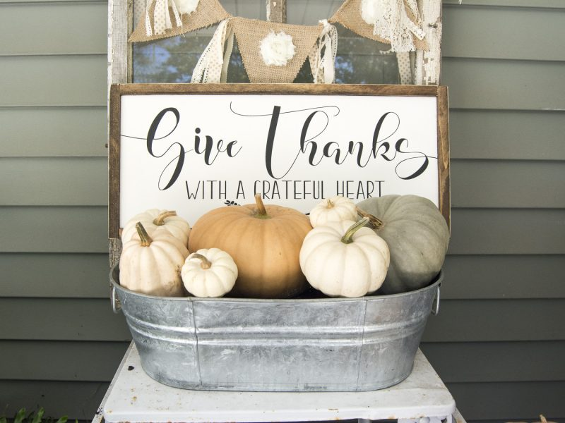 Give thanks fall porch decor with pumpkins