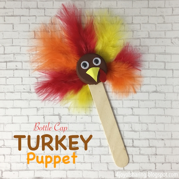 Thanksgiving Turkey puppet with feathers