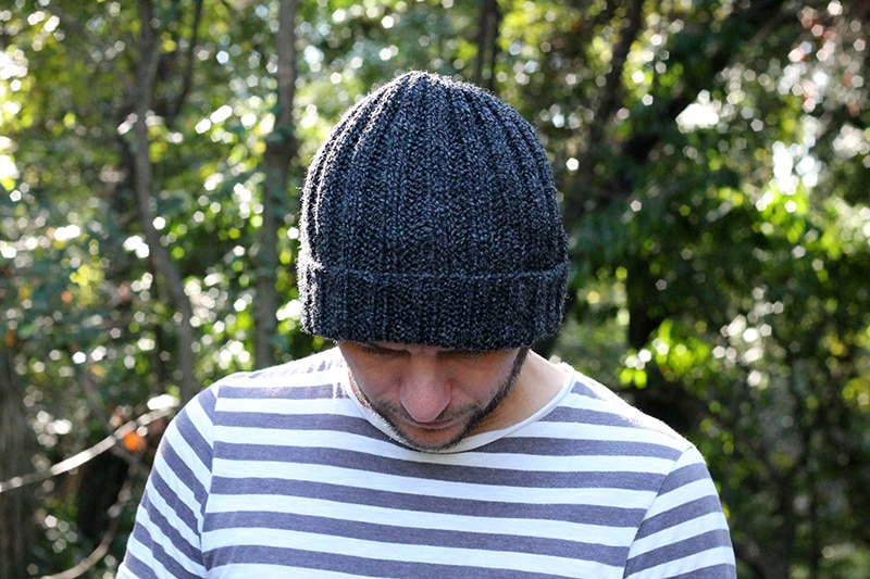 ribbed mariners hat pattern knit with grey yarn