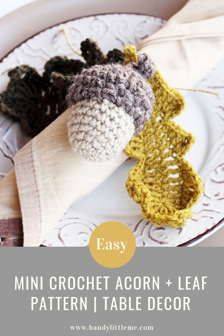 Mini acorn and leaf crochet pattern free
