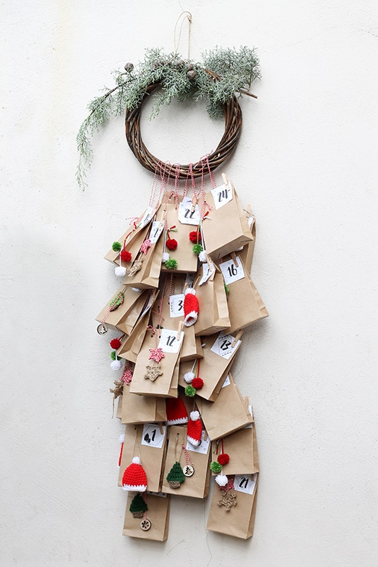 advent calendar with paper bags for the gifts