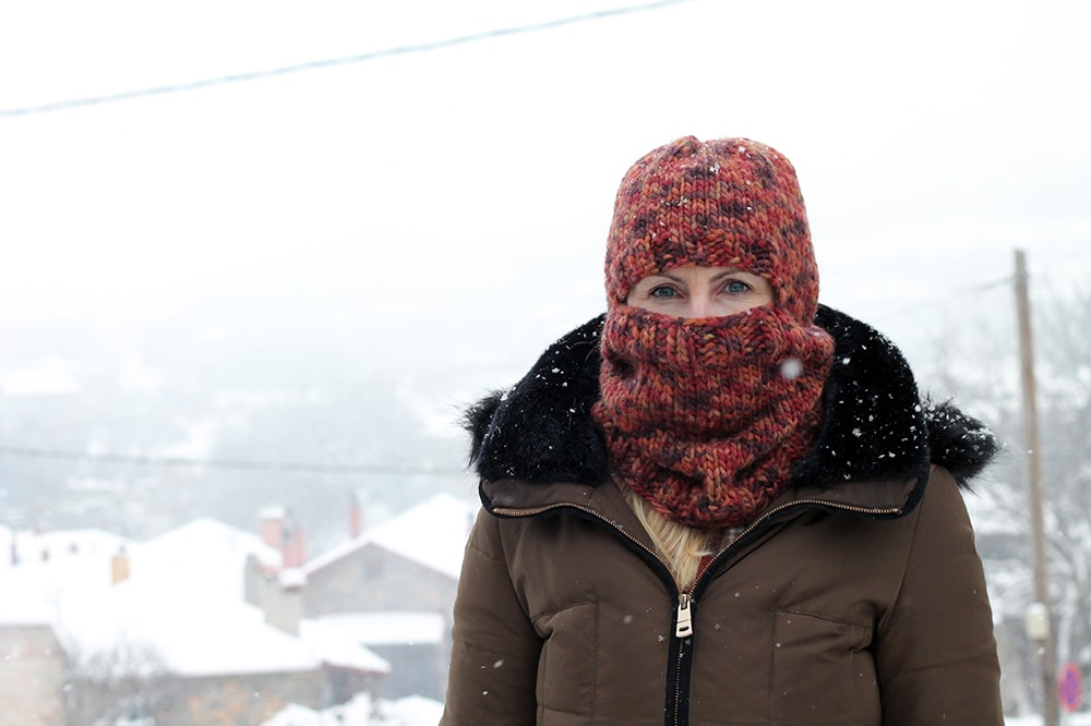 front view of balaclava hat