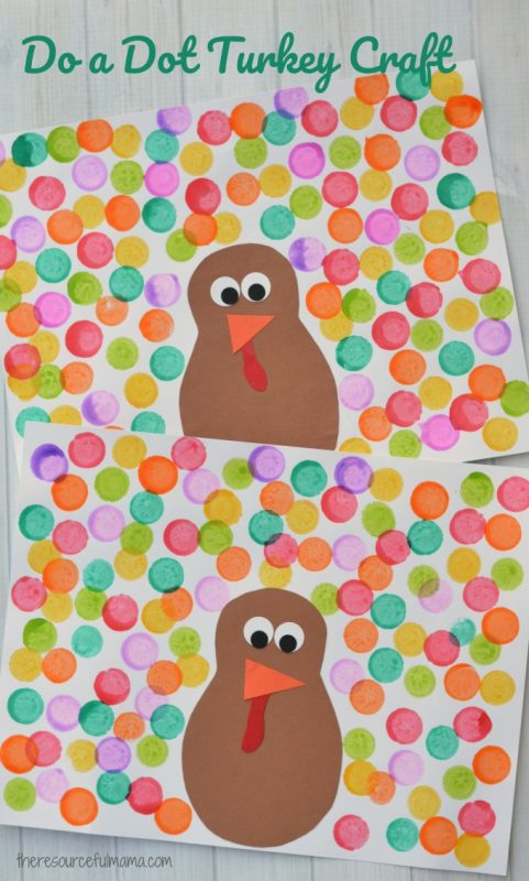 turkey paper collage with colourful dots