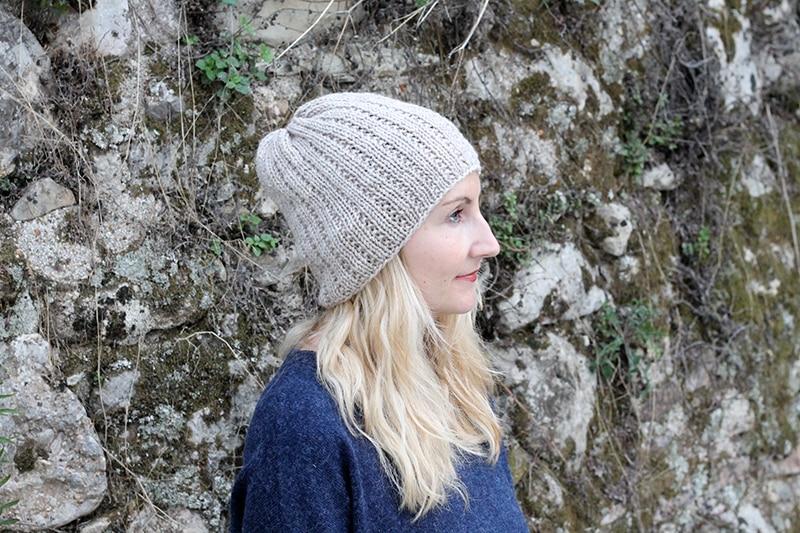 broken rib knit hat in neutral colored yarn