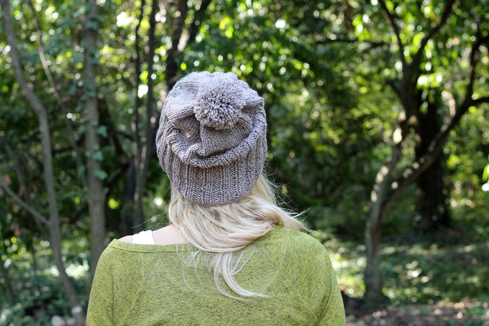 slouchy knit hat with pom pom