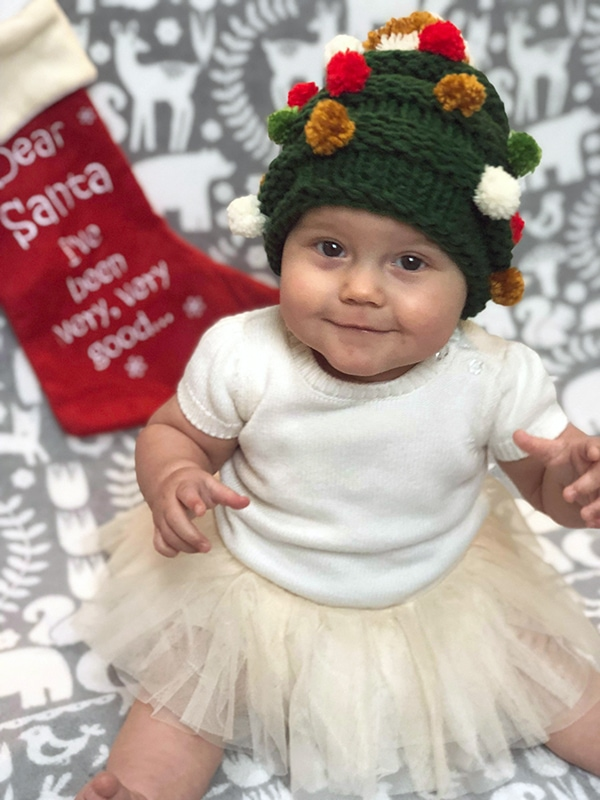 knitted baby Christmas tree hat