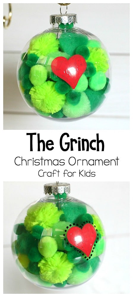 Grinch Christmas ornament craft for kids