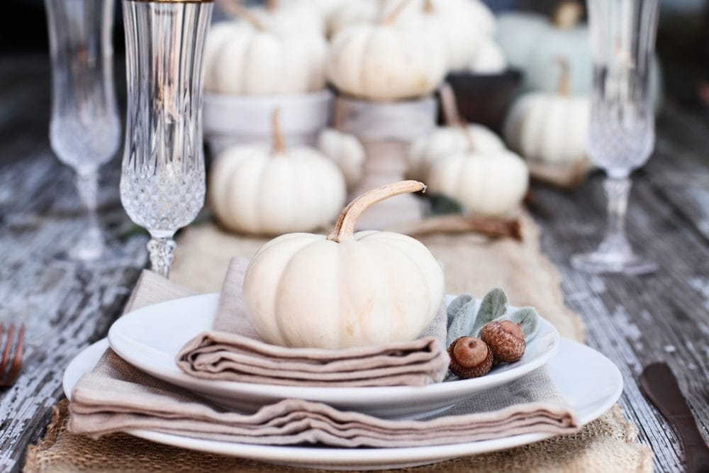 thanksgiving table decor with white pumpkins