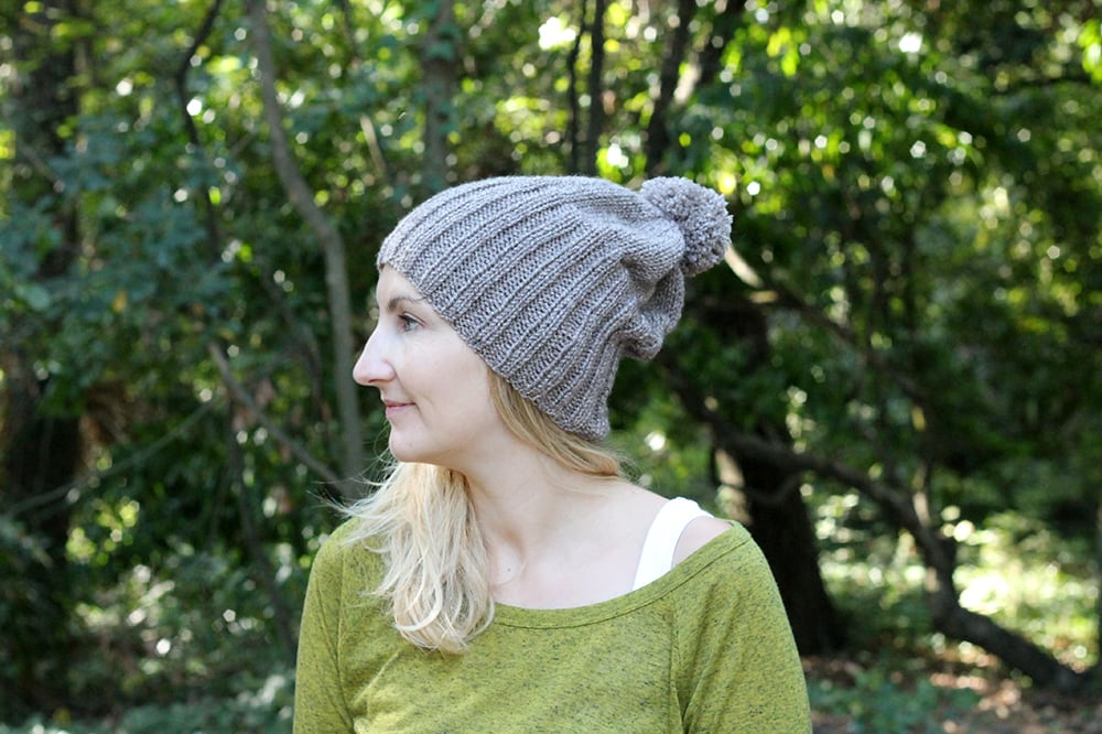 slouchy beanie hat with ribbing and pom pom
