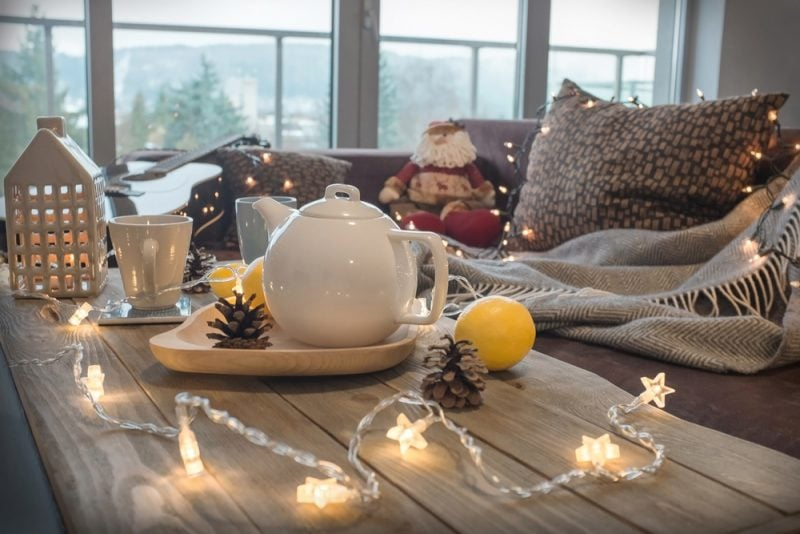 coffee table with tea pot and Christmas decorations