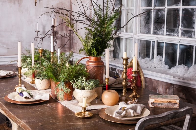 Christmas dining table with pine tree tablescape