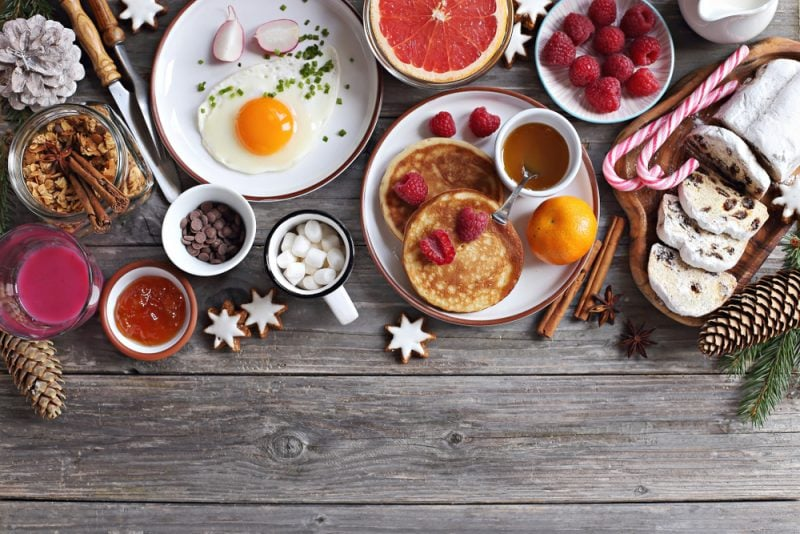 Christmas breakfast buffet with eggs and pancakes