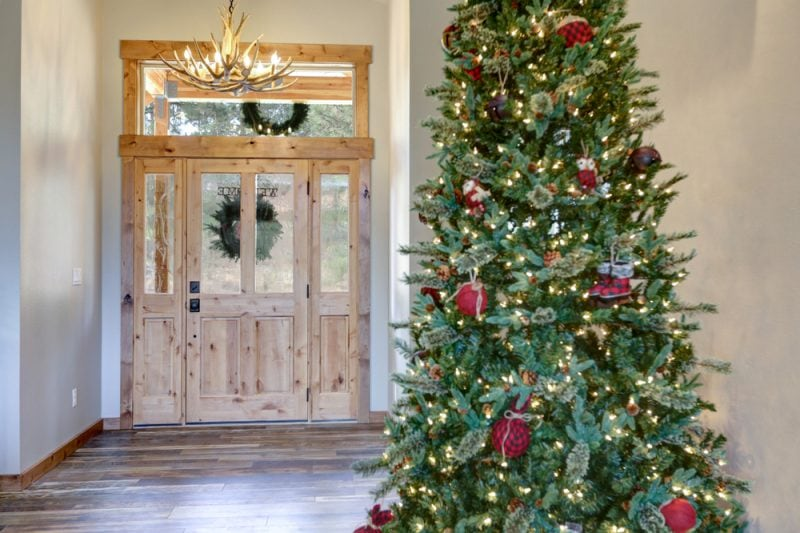 Christmas hallway with large Christmas tree