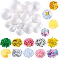 Pllieay 20 Pieces 5 Sizes White Foam Balls Polystyrene Craft Balls with 10 Pack Assorted Colors and Styles Sequins for DIY Art, Craft and Christmas Decorations