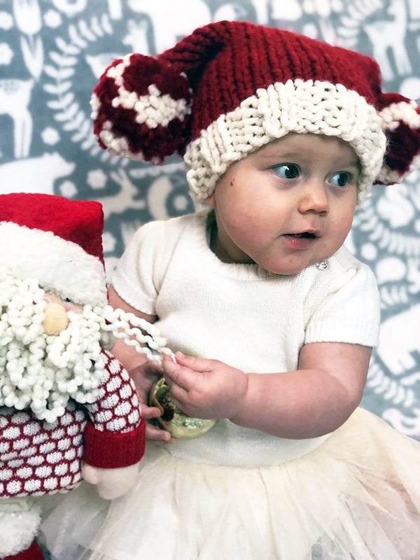 Baby Santa sack hat knitting pattern free
