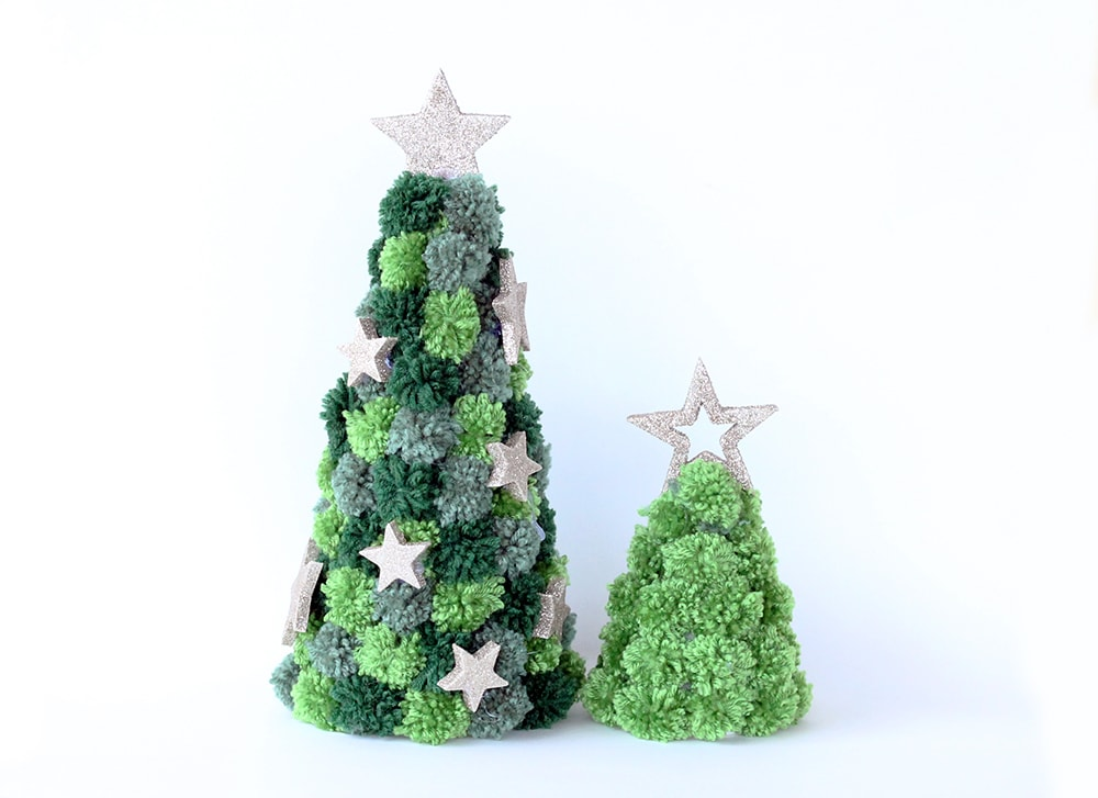Christmas trees made from green pom poms