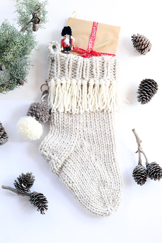 knitted Christmas stocking with gifts