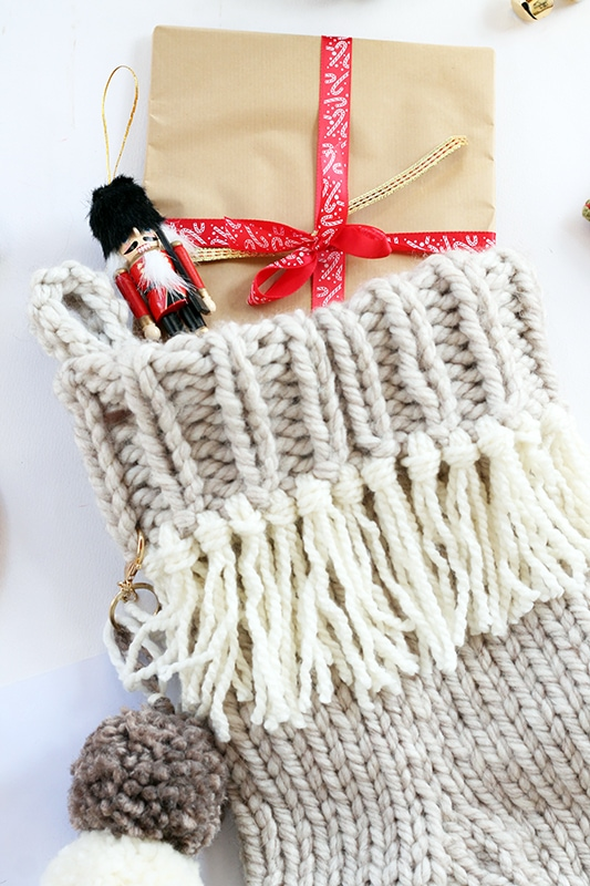 close up of Christmas stocking cuff and tassels