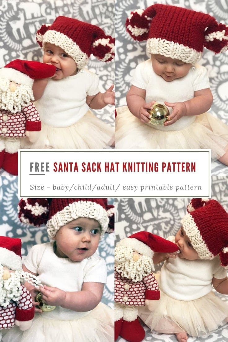 Free Santa sack hat knitting pattern