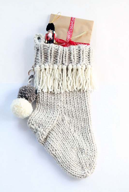 Christmas stocking knit in super bulky yarn