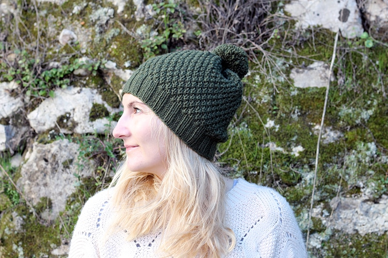 side view of the Irish moss stitch hat