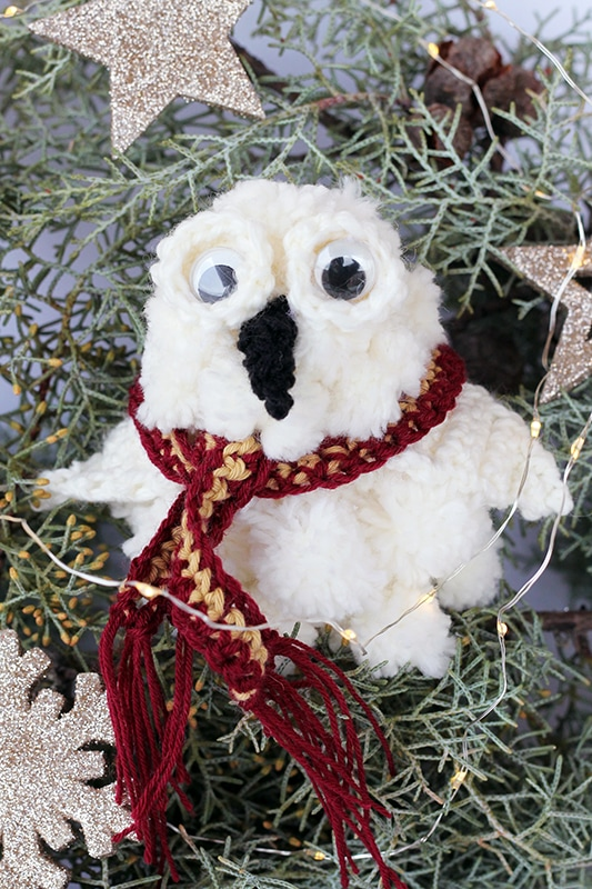 Hedwig Christmas tree ornament made from pom poms