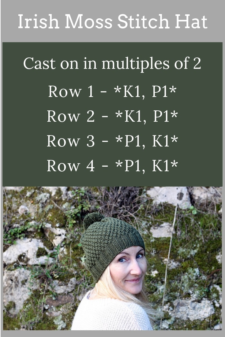 Irish Moss Stitch Hat Knitting Pattern