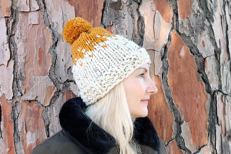 side view of knitted hat