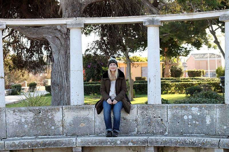 woman wearing a knit hat in Corfu Greece