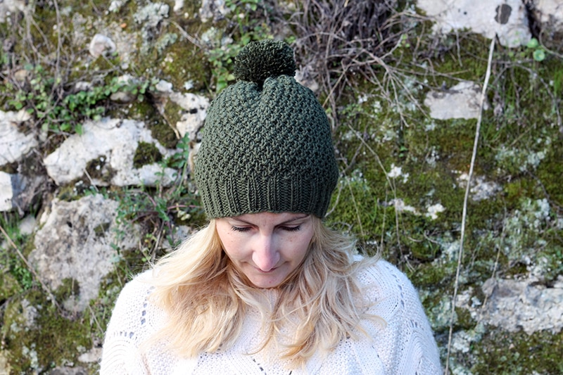 Irish moss stitch knitted hat