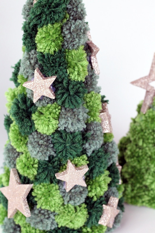 mini pom pom Christmas tree with gold glitter stars