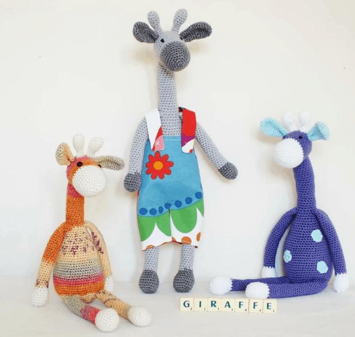 crochet giraffe wearing a hand sewn outfit