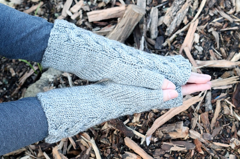 side view of mittens showing the thumb gusset