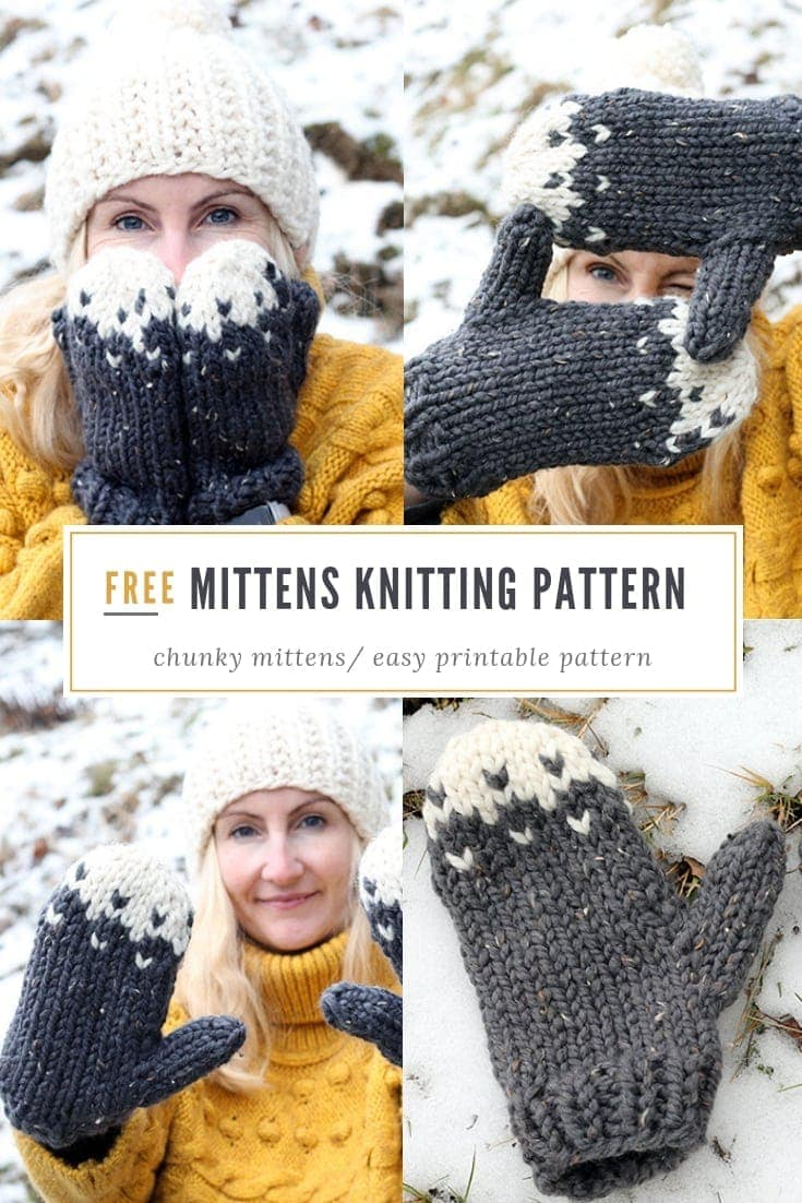 Snow Mountain Mittens Knitting Pattern