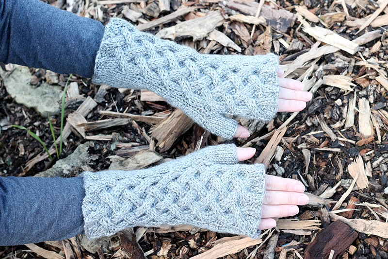 celtic cable knitted gloves