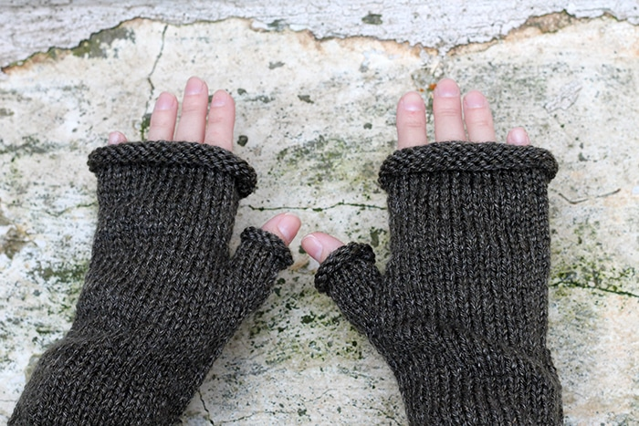 close up of fingerless gloves